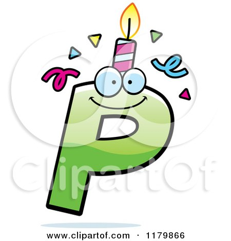 Cartoon of a Green Letter P Birthday Candle Mascot - Royalty Free Vector Clipart by Cory Thoman