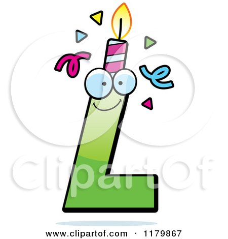 Cartoon of a Green Letter L Birthday Candle Mascot - Royalty Free Vector Clipart by Cory Thoman