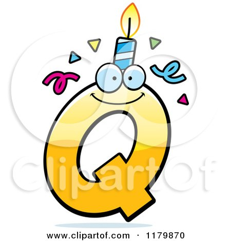 Cartoon of a Yellow Letter Q Birthday Candle Mascot - Royalty Free Vector Clipart by Cory Thoman