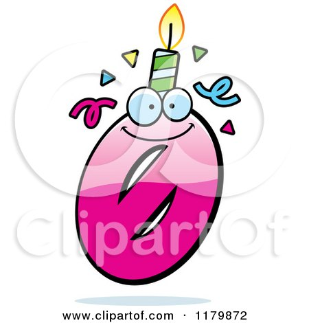 Cartoon of a Pink Zero Birthday Candle Mascot - Royalty Free Vector Clipart by Cory Thoman