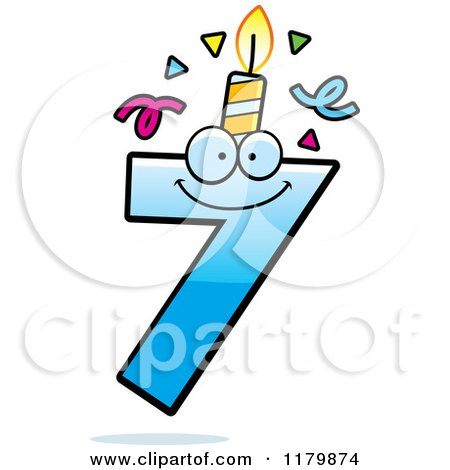 Cartoon of a Blue Seven Birthday Candle Mascot - Royalty Free Vector Clipart by Cory Thoman