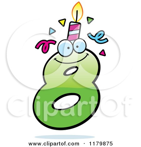 Cartoon of a Green Eight Birthday Candle Mascot - Royalty Free Vector Clipart by Cory Thoman