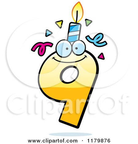 Cartoon of a Yellow Nine Birthday Candle Mascot - Royalty Free Vector Clipart by Cory Thoman
