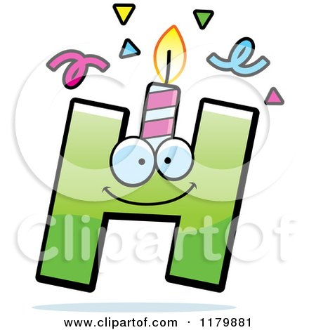 Cartoon of a Green Letter H Birthday Candle Mascot - Royalty Free Vector Clipart by Cory Thoman