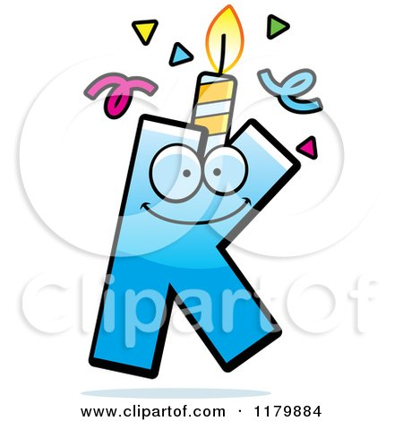 Cartoon of a Blue Letter K Birthday Candle Mascot - Royalty Free Vector Clipart by Cory Thoman