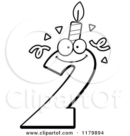 Cartoon of a Black and White Two Birthday Candle Mascot - Royalty Free Vector Clipart by Cory Thoman