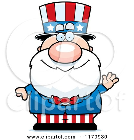 Cartoon of a Waving Chubby Uncle Sam - Royalty Free Vector Clipart by Cory Thoman
