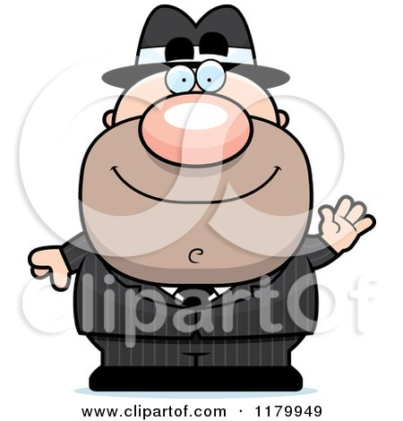 Cartoon of a Waving Chubby Mobster - Royalty Free Vector Clipart by Cory Thoman