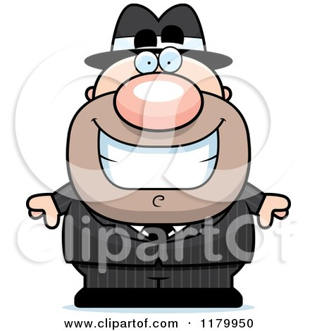 Cartoon of a Grinning Chubby Mobster - Royalty Free Vector Clipart by Cory Thoman