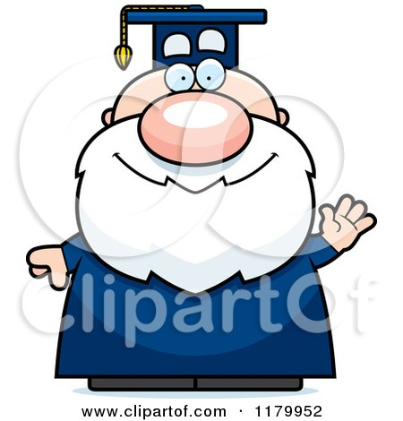 Cartoon of a Waving Chubby Professor in a Graduation Gown - Royalty Free Vector Clipart by Cory Thoman