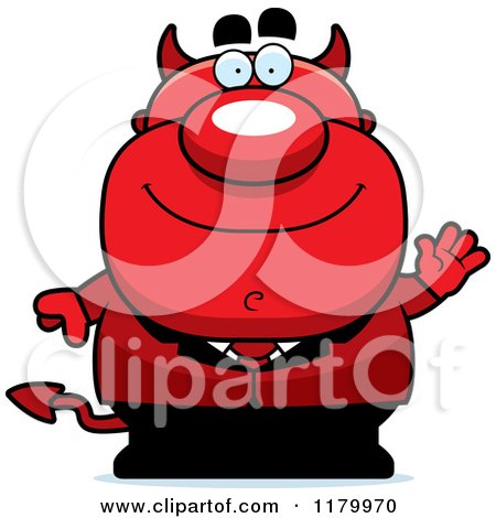 Cartoon of a Waving Chubby Devil - Royalty Free Vector Clipart by Cory Thoman