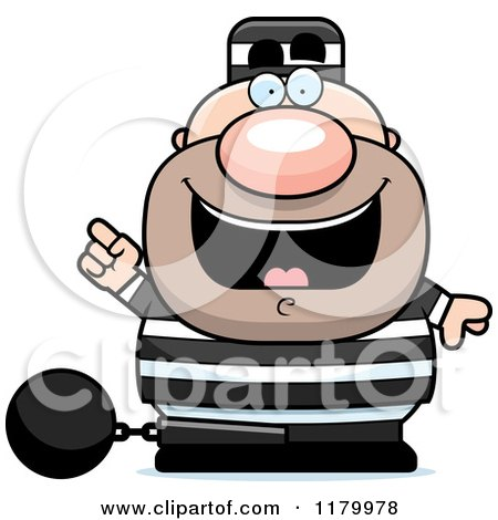 Cartoon of a Chubby Convict with an Idea - Royalty Free Vector Clipart by Cory Thoman