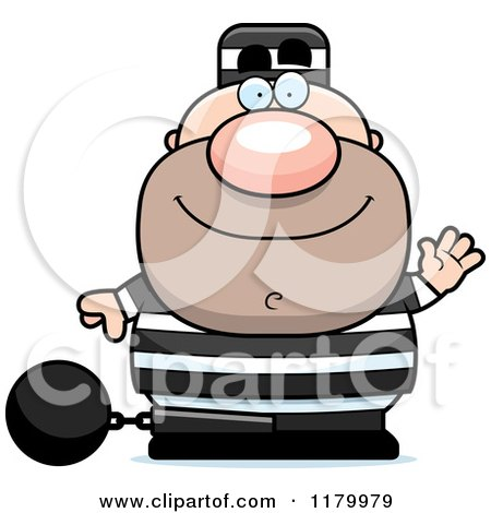 Cartoon of a Waving Chubby Convict - Royalty Free Vector Clipart by Cory Thoman
