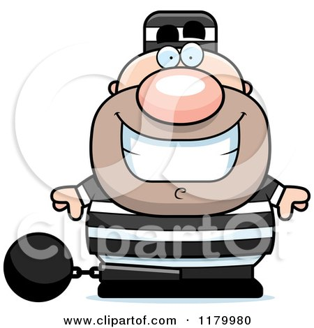Cartoon of a Grinning Chubby Convict - Royalty Free Vector Clipart by Cory Thoman