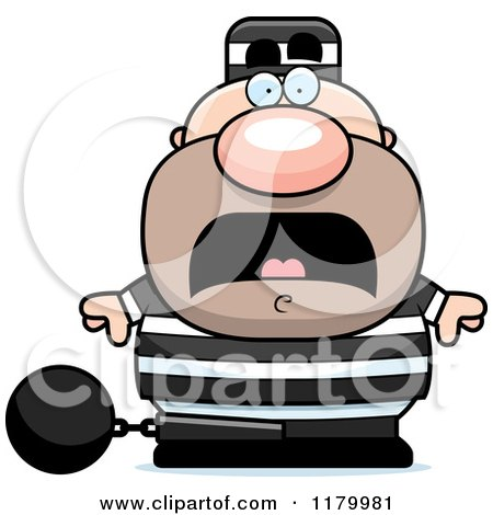 Cartoon of a Scared Chubby Convict - Royalty Free Vector Clipart by Cory Thoman