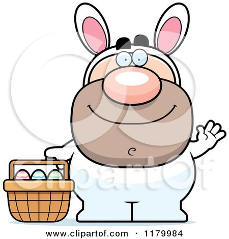 Cartoon of a Waving Man in an Easter Bunny Costume - Royalty Free Vector Clipart by Cory Thoman