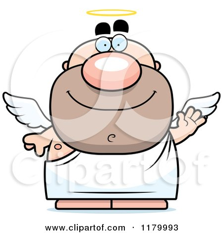 Cartoon of a Waving Chubby Male Angel - Royalty Free Vector Clipart by Cory Thoman