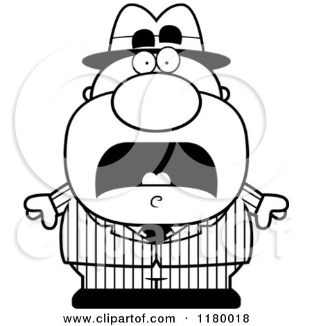 Cartoon of a Black and White Scared Chubby Mobster - Royalty Free Vector Clipart by Cory Thoman