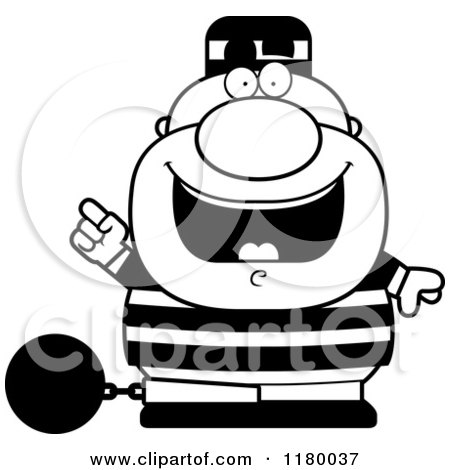 Cartoon of a Black and White Chubby Convict with an Idea - Royalty Free Vector Clipart by Cory Thoman