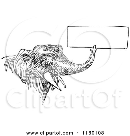 Clipart Vintage Black And White Circus Elephant Carrying A