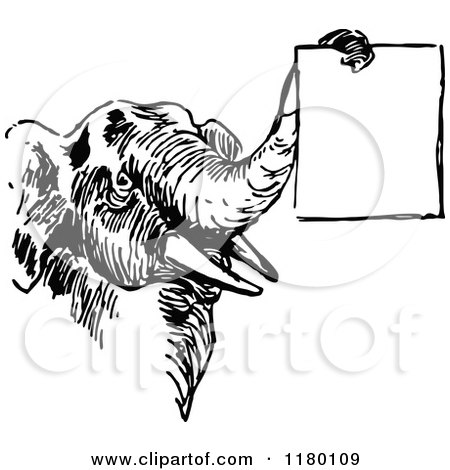 Clipart Vintage Black And White Circus Elephant Carrying A ...