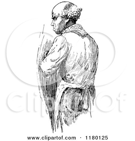 Clipart of a Retro Vintage Black and White Old Man - Royalty Free Vector Illustration by Prawny Vintage