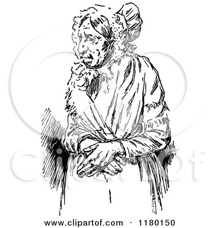Clipart of a Retro Vintage Black and White Elderly Lady - Royalty Free Vector Illustration by Prawny Vintage