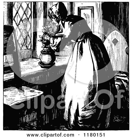Clipart of a Retro Vintage Black and White Elderly Lady Putting Flowers in a Pot - Royalty Free Vector Illustration by Prawny Vintage