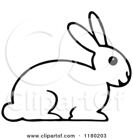 Clipart Of A Black And White Rabbit 2 Royalty Free