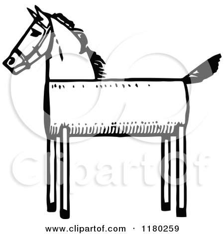 Clipart of a Retro Vintage Black and White Wooden Horse - Royalty Free Vector Illustration by Prawny Vintage