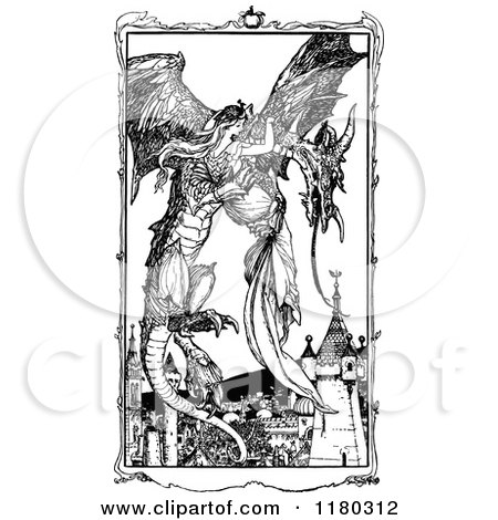Clipart of a Retro Vintage Black and White Dragon Flying with a Princess - Royalty Free Vector Illustration by Prawny Vintage