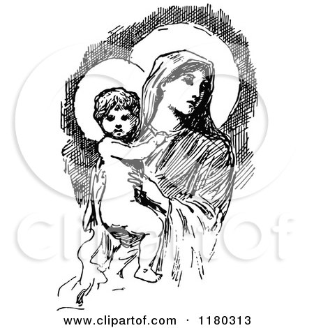 Clipart Of A Retro Vintage Black And White Baby Jesus And