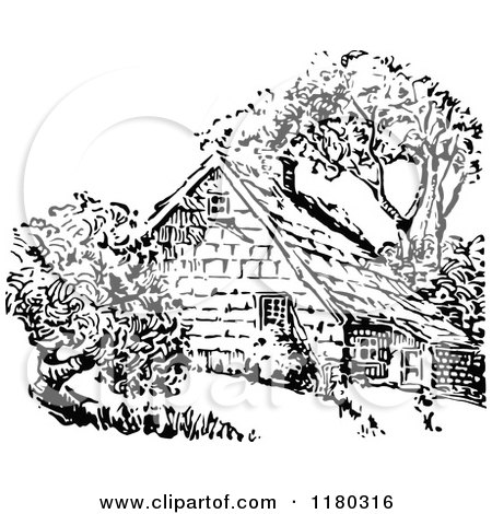 Clipart Of A Retro Vintage Black And White Country House