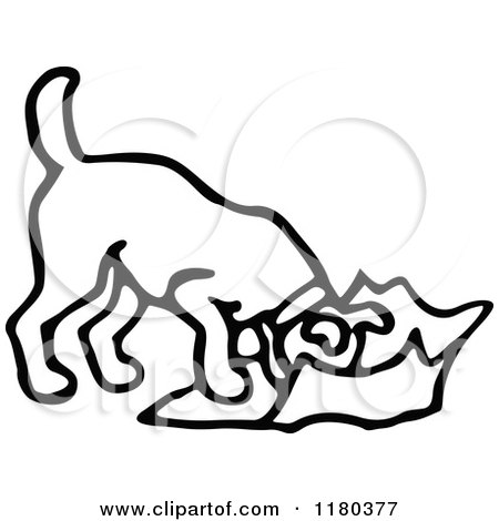 Dog Eating Clipart Black And White Dog Eating
