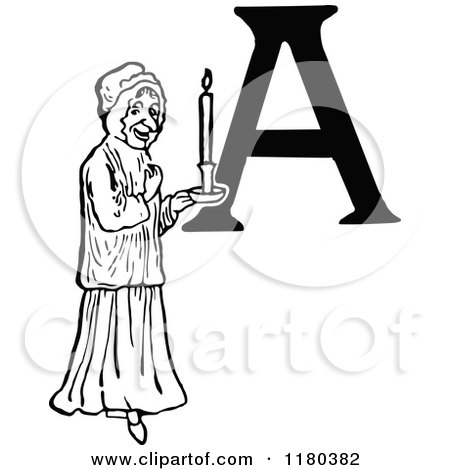 Clipart of a Retro Vintage Black and White Letter a and Woman with a Candle - Royalty Free Vector Illustration by Prawny Vintage