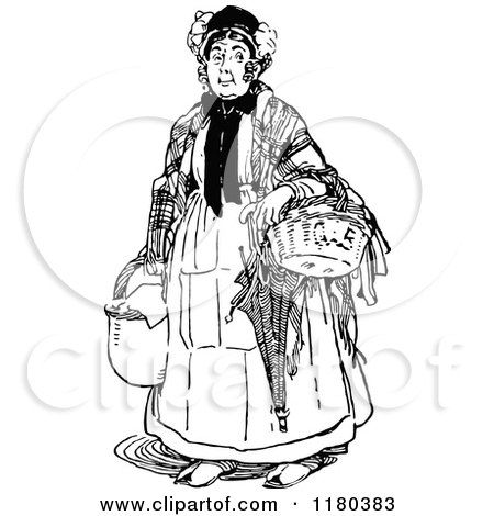 Clipart of a Retro Vintage Black and White Old Woman with Baskets - Royalty Free Vector Illustration by Prawny Vintage