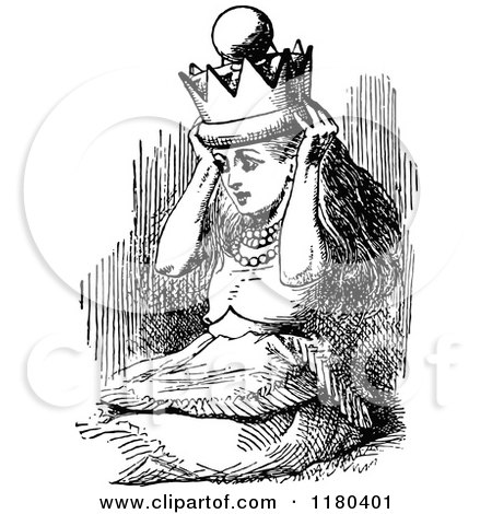 Clipart Of A Retro Vintage Black And White Queen Alice