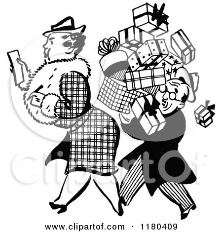 Clipart of a Retro Black and White Man Carrying a Shopping Womans Boxes - Royalty Free Vector Illustration by Prawny Vintage