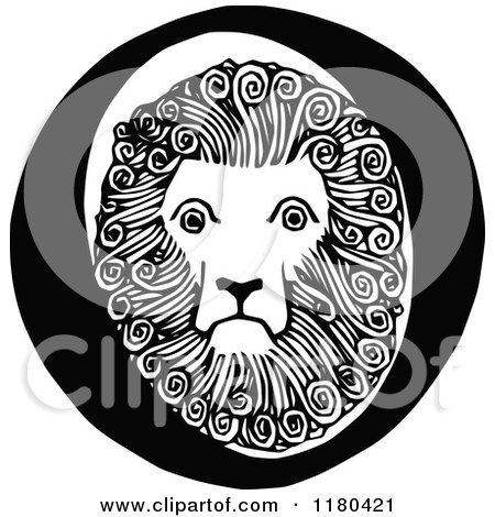 Clipart of a Retro Vintage Black and White Letter O and Lion - Royalty Free Vector Illustration by Prawny Vintage