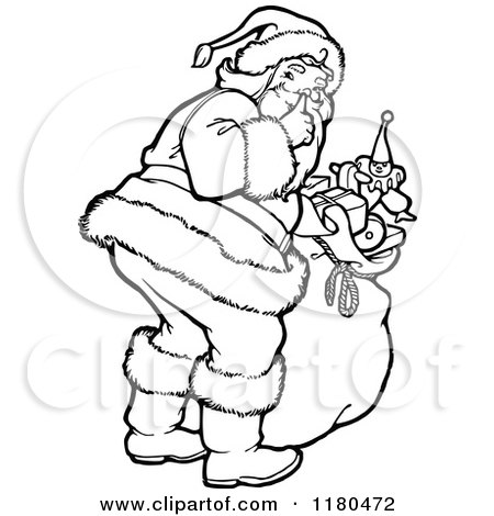 Clipart of a Retro Vintage Black and White Santa Shushing - Royalty Free Vector Illustration by Prawny Vintage