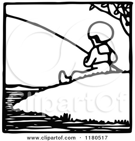 Clipart of a Black and White Fishing Boy Icon - Royalty Free Vector Illustration by Prawny Vintage