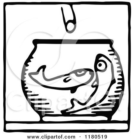 Clipart of a Black and White Feeding Fish Icon - Royalty Free Vector Illustration by Prawny Vintage