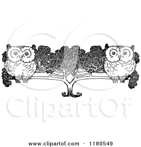 Clipart of Retro Vintage Black and White Owls in a Tree - Royalty Free Vector Illustration by Prawny Vintage