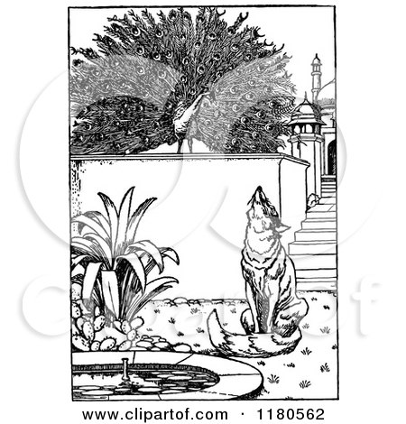 Clipart of a Retro Vintage Black and White Fox and Peacock in a Courtyard - Royalty Free Vector Illustration by Prawny Vintage