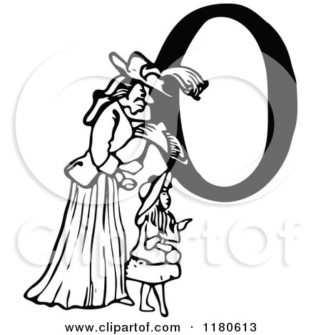 Clipart Of A Retro Vintage Black And White Letter O Mother And