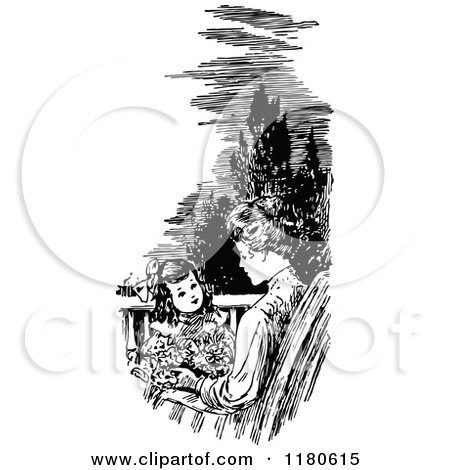 Clipart of a Retro Vintage Black and White Mother and Daughter on a Patio - Royalty Free Vector Illustration by Prawny Vintage