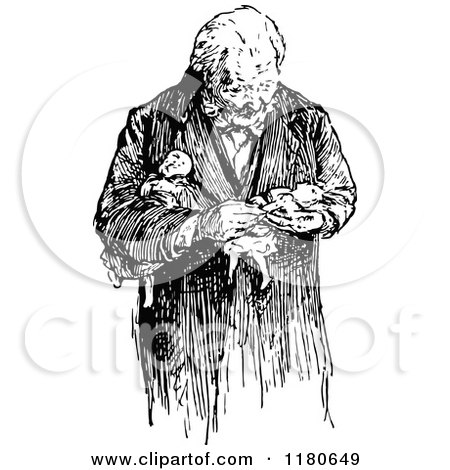 Clipart of a Retro Vintage Black and White Old Man Carrying Dolls - Royalty Free Vector Illustration by Prawny Vintage