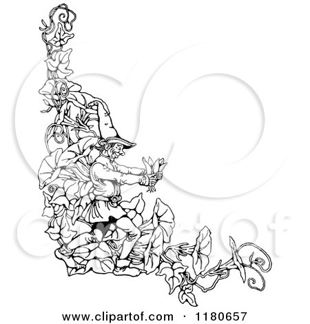 Clipart Of A Retro Vintage Black And White Gnome And