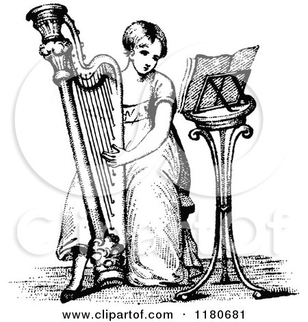Clipart of Vintage Black and White Medieval Musicians ...