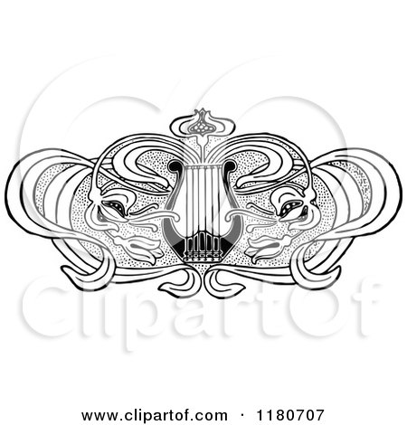 Clipart of a Retro Vintage Black and White Floral Lyre Design Element - Royalty Free Vector Illustration by Prawny Vintage